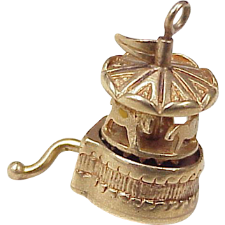 Vintage Mechanical Carousel Charm 14K Gold circa 1950's