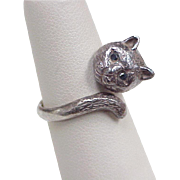 Vintage Cat Ring Sterling Silver & Blue Spinel