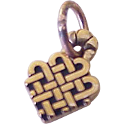 Small Heart Charm, Celtic Knot Design 10K Gold
