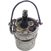 Vintage Champagne Bucket Charm Sterling Silver by Wells circa 1960's