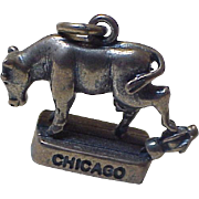 Great Chicago Fire Charm Mrs O'Leary's Cow Three Dimensional Sterling Silver Circa 1950's