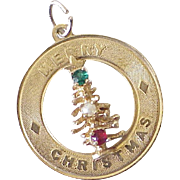 Vintage Jeweled Charm, CHRISTMAS 14k Gold, circa 1950-60's