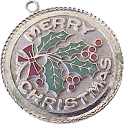 Vintage Christmas Charm Sterling Silver Enameled Accent Circa 1960's