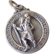 Vintage St. Christopher Medal Charm Sterling Silver Three Dimensional