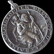 Big Saint Christopher Medal Vintage Charm Sterling Silver 1962