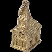 Vintage Church / Chapel Charm 14K Gold Three Dimensional