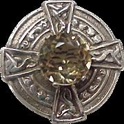 Victorian Era Celtic Brooch Sterling Silver & Citrine