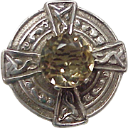 Victorian Era Celtic Brooch Sterling Silver & Citrine