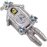 Vintage Mechanical Sterling Silver Cuckoo Clock Charm With Enameled Accent circa 1950's