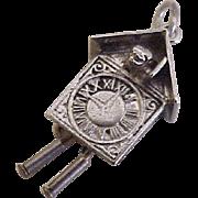 Moving Cuckoo Clock Charm Sterling Silver Three Dimensional Circa 1960's