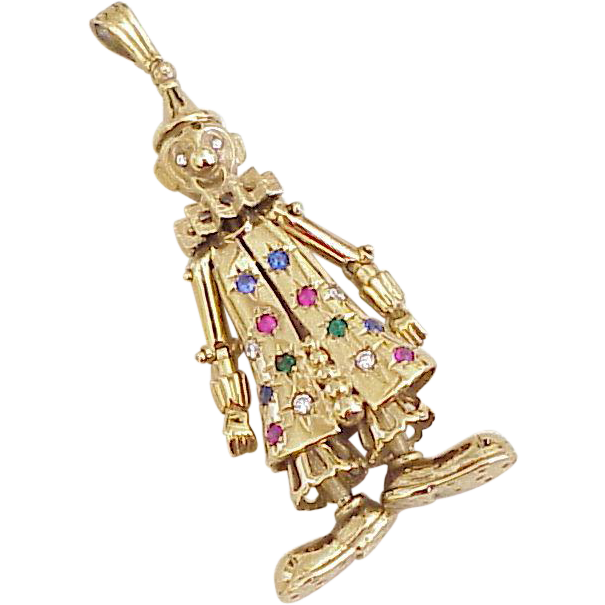 Large articulated jeweled clown pendant from london circa 1995 a large articulated jeweled clown pendant from london circa 1995 a charmed life ruby lane aloadofball Gallery