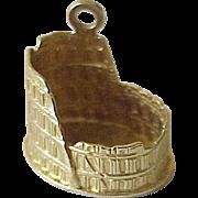 Vintage Colosseum Charm 18K Gold circa 1950's Three Dimensional