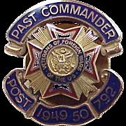 Vintage VFW Past Commander Pin 1949-50, 10k Gold