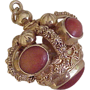 BIG Vintage 18k Gold Charm With Red Coral & Cannetille Filigree