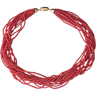 Vintage Oxblood Coral Bead Necklace 14 Strand 18K Gold