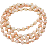 Vintage Angel Skin Coral Bead Necklace circa 1950-60's