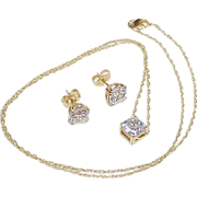 Beautiful Asscher Faceted Faux Diamond  4.75 Carats Total Set 14k Gold, Necklace & Earrings