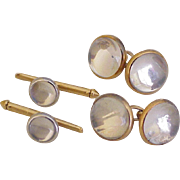 Rock Crystal 14K Gold Cufflinks Set