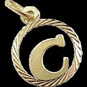 Vintage Initial / Monogram C Charm 18K Gold circa 1970's