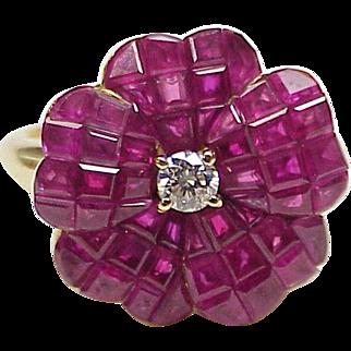 Ruby & Diamond Flower Ring 18K Gold circa 1980's