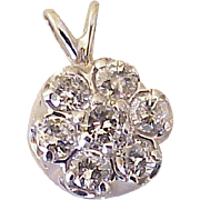 Diamond Cluster Pendant 14K White Gold 1.19 Carats Total