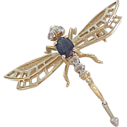 Jeweled Vintage Dragonfly Pendant / Brooch 14K Gold Sapphire & Diamond