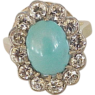 Persian Turquoise & Diamond 1.80 ctw Ring 14K Gold & Platinum