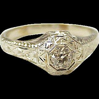 Diamond Solitaire .50 Ct Vintage Ring 18K White Gold Circa 1930's