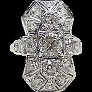 Gorgeous Art Deco VS Diamond Ring 2.16 ctw, 18K White Gold