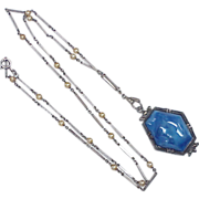 Art Deco Necklace Sterling Silver, Blue Czech Glass, Marcasite & Glass Pearl