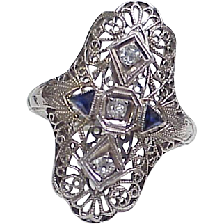 Art Deco Ring 18K White Gold Filigree Diamond & Sapphire