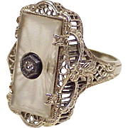 Art Deco Rock Crystal & Diamond Filigree Ring 14K White Gold