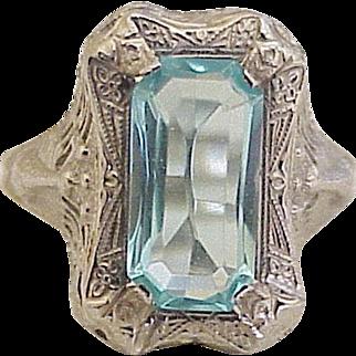 Art Deco Faux Aquamarine Ring 14K White Gold circa 1920-30's