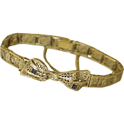 Art Deco Filigree Bracelet Bow Design Sapphire & Diamond Accent 14K White Gold
