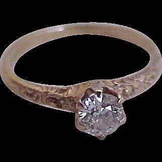 Victorian Diamond .50 Carat Solitaire Engagement Ring