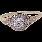 Victorian Diamond Ring .75 ct Cushion Cut & Rose Cut's Platinum & 18K Gold