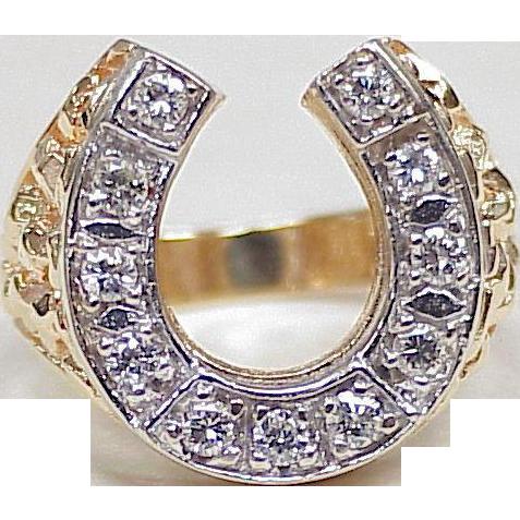 Impressive Vintage DIAMOND Horseshoe Gents Ring 77 ctw 14K Yellow