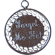 Forget Me Not Engraved Vintage Charm Sterling Silver circa 1960's