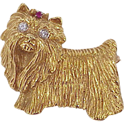 Vintage Dog Brooch Yorkie or Maltese 18k Gold Diamond & Ruby Accent