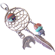 Vintage Navajo Dream Catcher Pendant Sterling Silver Circa 1970's