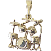 Vintage Drum Kit Music Charm 14K Gold Three Dimensional Circa 1980's