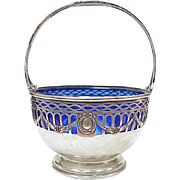 Durgin Sterling Silver Small Footed Basket With Cobalt Glass Liner