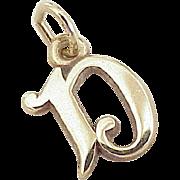 Vintage Initial / Letter D Charm Pendant 10k Gold circa 1980's
