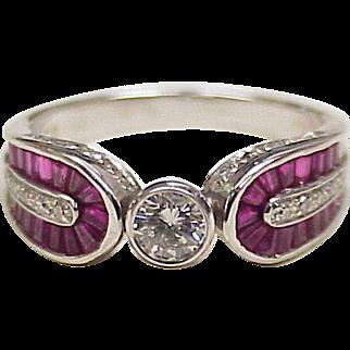 Diamond & Ruby Engagement or Fashion Ring 14K White Gold 2.0 tgw