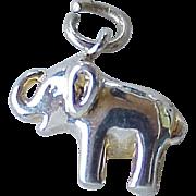 Elephant Vintage Charm Three-Dimensional Sterling Silver circa 1970's