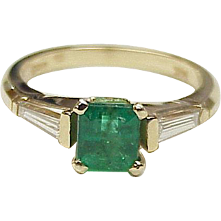 Natural Emerald Ring, Diamond Accent 1.69 TGW 14K Gold
