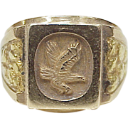Handsome Gents 14k Gold Eagle Ring With 24k Gold Nugget Accent