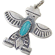 Vintage Native American Crafted Eagle Dancer Pendant Sterling Silver & Turquoise