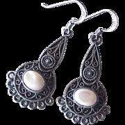 Vintage Filigree Dangle Earrings Sterling Silver & Pink Mother of Pearl