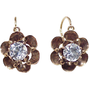 Edwardian White Spinel 2.52 ctw Drop Earrings 10K Rose Gold